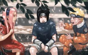 Картинка naruto, art, team 7, Uchiha Sasuke, Haruno Sakura, Uzumaki Naruto, by BlackMarlb0r0