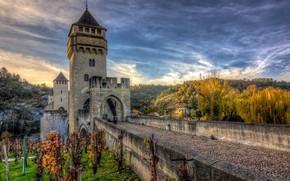 Картинка мост, осень, стена, замок
