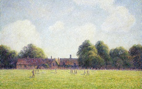 Обои пейзаж, Зеленый Хэмптон-Корт, Камиль Писсарро, картина