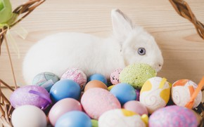 Картинка Кролик, Пасха, Яйца, Праздник