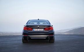 Картинка небо, BMW, седан, xDrive, корма, 530d, Luxury Line, 5er, тёмно-синий, четырёхдверный, 2017, 5-series, G30