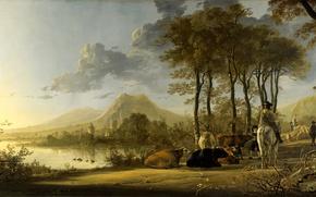 Картинка животные, гора, картина, Альберт Кёйп, Aelbert Jacobsz Cuyp, Речной Пейзаж с Всадником и Крестьянами