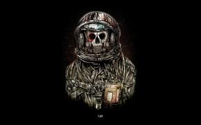 Обои скафандр, смерть, астронавт, костюм, череп