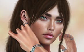 Картинка девушка, лицо, фон, волосы