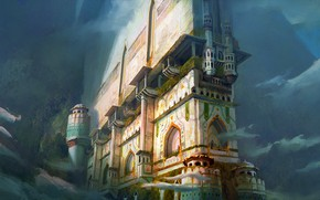 Картинка горы, сооружение, дымка, архитектура, Outpost