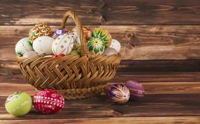Картинка праздник, корзина, яйца, пасха