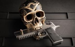 Обои череп, узоры, пистолет