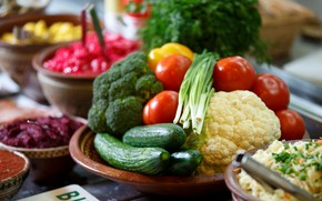 Картинка лук, овощи, помидоры, капуста, огурцы, брокколи
