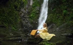 Картинка девушка, водопад, чемодан
