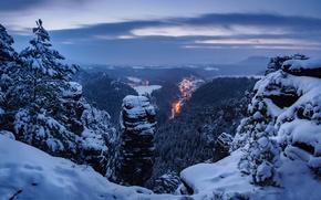 Картинка зима, снег, деревья, горы, Германия, панорама, Germany, Саксонская Швейцария, Saxon Switzerland, Эльбские Песчаниковые горы, Elbe ...