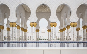 Картинка золото, Колонны, колонны, мрамор, позолота, Мечеть, Abu Dhabi, Emirates, ОАЭ, Мечеть шейха Зайда, Абу-Даби, Объединённые …