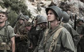 Обои По соображениям совести, история, Hacksaw Ridge, форма, фильм, военный, Desmond Doss, солдаты, каска, Эндрю Гарфилд, ...