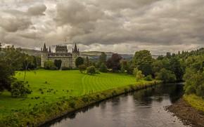 Картинка река, замок, Шотландия, Инверари
