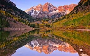 Картинка осень, озеро, отражение, гора, утро, США