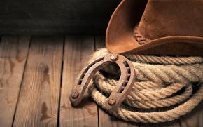 Картинка hat, wooden floor, Horseshoe, cowboy hat