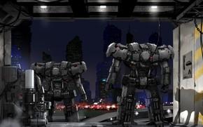 Картинка ночь, город, роботы