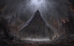 Картинка обломки, ночь, пожар, искры, разрушение, дьявол, ужас, art, сатана, проклятое место, welcome to Hell, Themefinland, ...