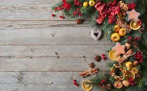 Картинка украшения, ягоды, шары, елка, Новый Год, печенье, Рождество, сердечки, фрукты, орехи, Christmas, wood, hearts, Merry …