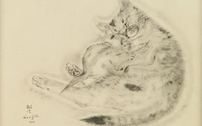 Картинка любовь, доброта, нежность, спят, милые, 1929, Tsuguharu Foujita, Книга Кошек, кошка и котёнок