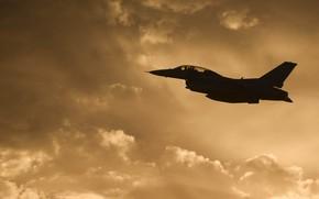 Картинка США, F-16, Fighting Falcon, General Dynamics, истребитель четвёртого поколения, американский многофункциональный лёгкий