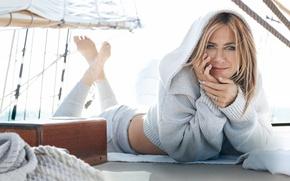 Картинка Jennifer Aniston, legs, eyes, smile, look, yacht, actress, jewels, Michelangelo di Battista