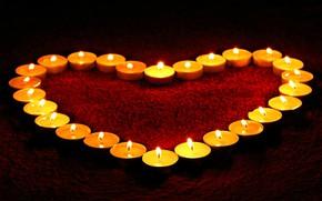 Картинка красный, огонь, сердце, Love, ковёр, свечи, полумрак, Heart, Candles