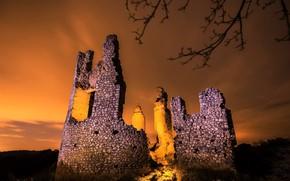 Картинка ночь, природа, руины