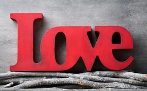 Картинка любовь, ветки, red, love, heart, wood, romantic
