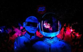 Картинка Музыка, Космос, Стиль, Фон, Daft Punk, Thomas Bangalter, Дафт Панк, Маски, Guy Manuel de Homem …