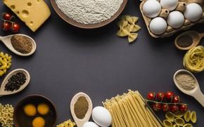 Картинка еда, сыр, Италия, спагетти, специи, мука, лапша, паста, помидоры-черри