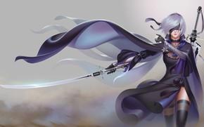 Обои меч, девушка, nier: automata, арт, yorha unit no. 2 type b