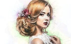 Картинка взгляд, девушка, лицо, волосы, арт, прическа