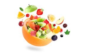 Картинка ягоды, белый фон, фрукты, дольки