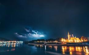 Картинка ночь, город, Lietuva, Kaunas