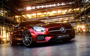 Обои lights, AMG, Mersedes-Benz, tires, coupe