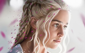 Обои Игра престолов, Emilia Clarke, Daenerys Targaryen, сериал, портрет, блондинка, рендер, Эмилия Кларк, Game of Thrones, ...