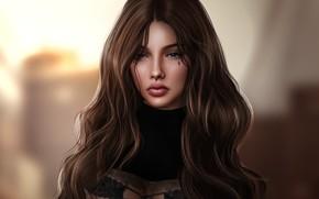 Картинка девушка, лицо, фон, волосы, милашка