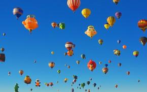 Картинка небо, США, парад, Нью-Мексико, Альбукерке, Международный фестиваль воздушных шаров