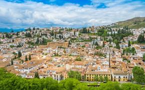 Картинка Облака, Дома, Город, Пейзаж, Испания, Андалусия, Гранада