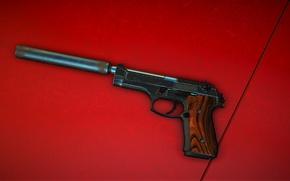 Картинка пистолет, фон, глушитель
