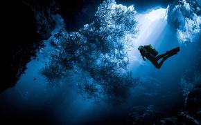 Картинка море, вода, океан, человек, водолаз, под водой, дайвинг, дайвер