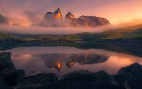 Картинка горы, туман, озеро, утро, Анды, Патагония
