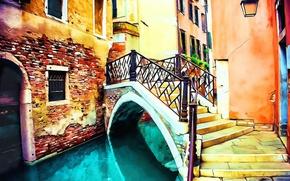 Картинка Рисунок, Италия, Венеция, Арт, Art, Italy, Bridge, Venice, Italia, Venezia, Мостик