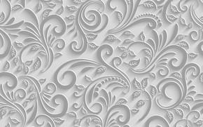 Обои Узор, Белый фон, Текстура, Листья, Ветки