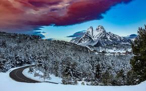Картинка зима, дорога, лес, небо, горы, природа