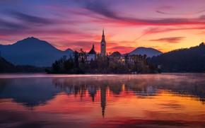 Картинка небо, облака, свет, огни, туман, озеро, краски, утро, храм, Словения, Бледское озеро, Блед, Мариинская церковь, …