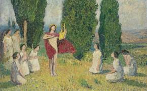 Картинка картина, мифология, Анри-Жан Гильом Мартин, Henri Matrin, Орфей Играет на Лире