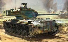 Обои огонь, танк, американский, Patton II, рисунок, дым, поле боя, средний, взрывы, арт, M47
