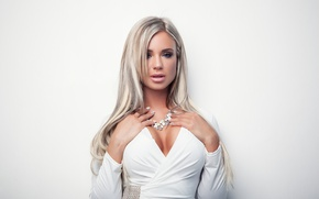 Картинка white, model, look, blonde, Dress