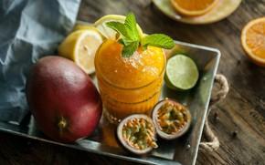 Картинка стакан, лимон, апельсин, лёд, лайм, напиток, фрукты, мята, цитрусовые, маракуйя